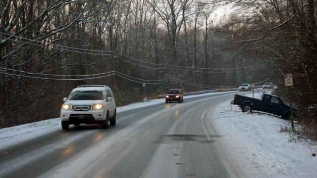 Slick conditions on Old Stage Road near Garner on Feb. 25, 2015. (Photo by Jamie Munden)