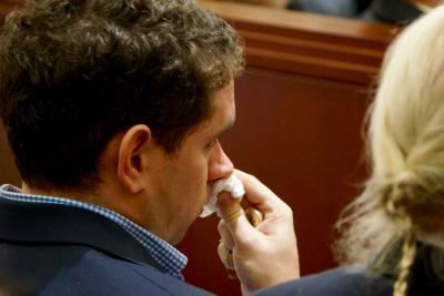 Nation Hahn listens to testimony March 5, 2015, in the trial of Jonathan Broyhill, accused of first-degree murder in the April 2013 stabbing death of Hahn's wife, Jamie Kirk Hahn.
