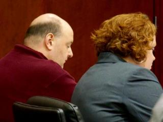 Jonathan Broyhill, accused of first-degree murder, sits March 6, 2015, with defense attorney Caroline Elliot listening to testimony in his trial for the April 2013 stabbing death of Jamie Kirk Hahn.