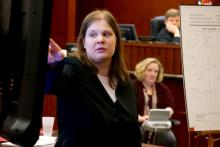During the first-degree murder trial of Jonathan Broyhill on March 9, 2015, Dr. Lauren Scott, a forensic pathologist with the North Carolina Office of the Chief Medical Examiner, describes for jurors injuries she observed to the body of Jamie Kirk Hahn.