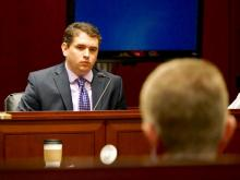 Defense attorney Joseph Arbour cross-examines Nation Hahn March 12, 2015, during the trial of Jonathan Broyhill, accused of first-degree murder in the April 2013 death of Hahn's wife, Jamie Kirk Hahn.