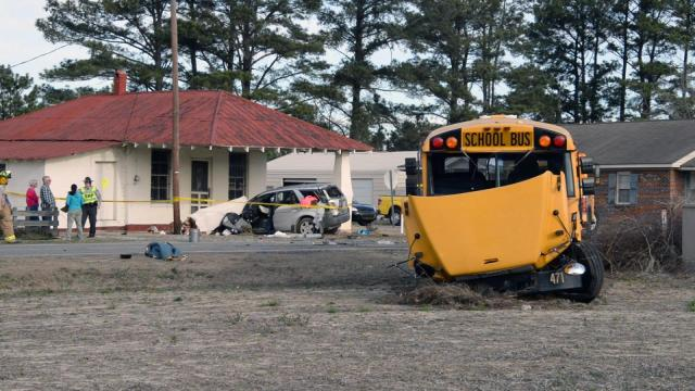 Several people were taken to local hospitals Tuesday morning after a bus bound for Selma Elementary School was hit by a car northeast of Selma, according to the North Carolina State Highway Patrol.
