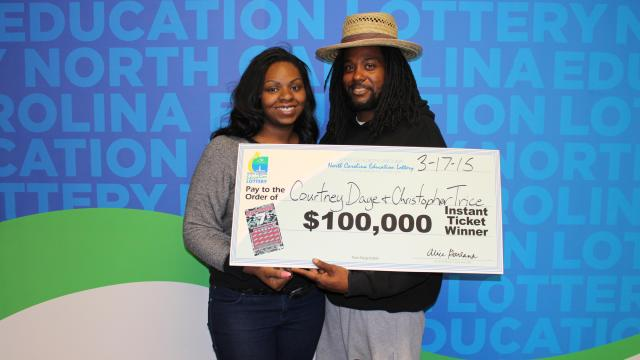 Courtney Daye and Christopher Trice split a $100,000 jackpot from the North Carolina Education Lottery.