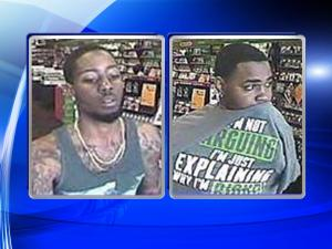 Fayetteville police are searching for two men caught on surveillance camera who are accused of breaking into a vehicle, stealing a credit card and then using it at two different stores shortly after the theft.