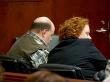Jonathan Broyhill and his attorney, Caroline Elliot, listens to the family of Jamie Kirk Hahn speak March 19, 2015, during his sentencing hearing for Hahn's April 2013 death.