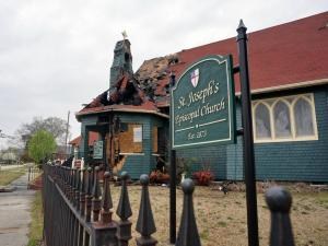 A historic downtown Fayetteville church was damaged by fire Tuesday evening. Firefighters were dispatched to Saint Joseph's Episcopal Church, 104 Moore Street, at about 6:46 p.m. Smoke and fire was billowing from the building, built in 1896, when firefighters arrived, officials said.