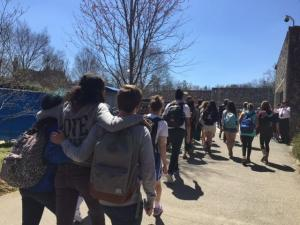 Duke University students held a silent march April 1, 2015, in protest of a noose found hanging on campus.