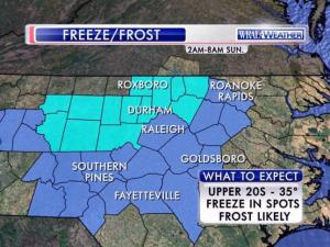 The National Weather Service issues frost advisories and a freeze warning for dozens of central North Carolina counties between 2 and 8 a.m. Sunday, April 5, 2015.