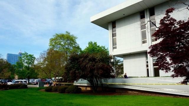 A state worker was seriously injured April 13, 2015, when a piece of equipment fell over on him outside the State Archives downtown, authorities said.