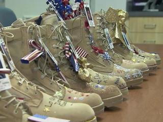 Families decorated boots in honor of their lost loved ones.