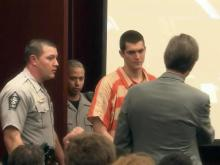 Daniel Joseph Steele makes his first court appearance on April 20, 2015, on charges that he killed his girlfriend, Kimberly Dianne Richardson.
