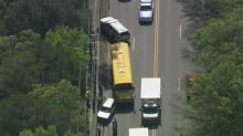 IMAGES: 9 students taken to hospital after Wake County school bus crash