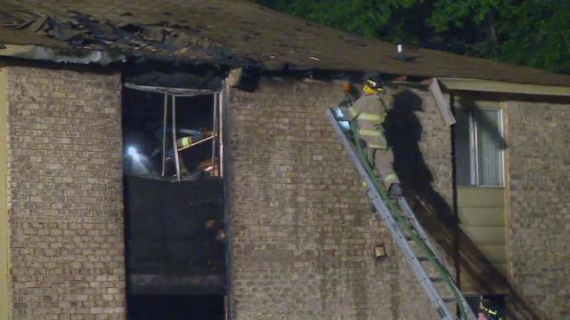 Several families were being helped by the Red Cross early Thursday after fire damaged a two-story apartment building west of downtown Fayetteville.