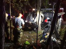 Two people died and a third person was injured April 24, 2015, after a car crashed into a tree during a police chase in Moore County, authorities said.