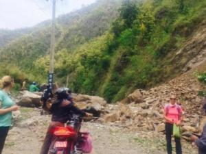 Jennifer Farrell and two friends were on a mountain road in Nepal Saturday when an earthquake caused a landslide. (Photo courtesy Jennifer Farrell)
