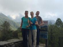 Jennifer Farrell (center) and two friends hike in the Annapurna region of Nepal prior to a 7.8-magnitude earthquake that struck on April 25, 2015.