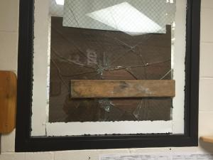 The main office and cafeteria of a Cumberland County middle school were damaged early Tuesday morning after two people broke into the building.