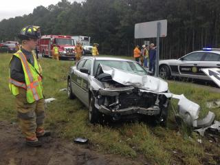 A state trooper was hurt Thursday afternoon in a car crash on N.C. Highway 403 near Interstate 40 in Sampson County, according to authorities.