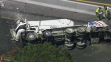IMAGES: Concrete truck overturned on I-440 in east Raleigh