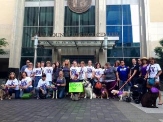 A group wearing Justice for Koda shirts gathered Monday morning outside the Wake County Courthouse.