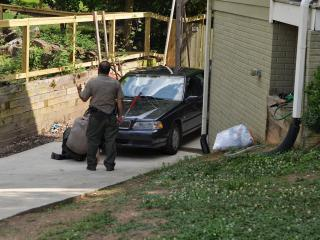 Raleigh police and animal control officers search Tuesday afternoon for an aggressive fox in the Courtland Drive area.