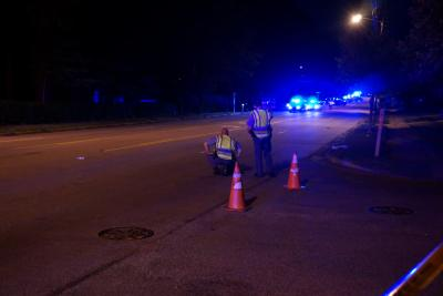 A juvenile was hit by a vehicle while riding a bicycle on Millbrook Road between Sweetbriar and Cedarwood drives Tuesday night. (Andrew Cumbee/WRAL)