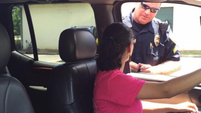 Kyla Ponciano gets tips about how to handle a traffic stop.