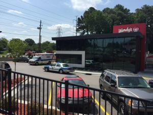 A cell phone sale gone wrong resulted in gunfire Friday morning outside a Wendy's on Raleigh's Western Boulevard.