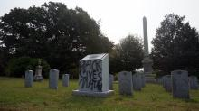 IMAGES: Vandals tag Confederate monument in Durham cemetery