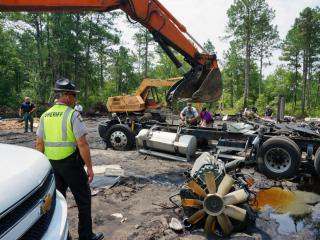 Investigators from the Sampson County Sheriff's Office are working to identify suspects after discovering a chop shop in a wooded area in the southern part of the county.