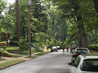 Nearly 1,400 people in a Raleigh neighborhood lost power Friday evening after a large tree limb fell on power lines, according to authorities.