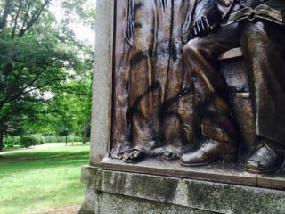 Silent Sam, a Confederate war statue at the University of North Carolina at Chapel Hill, was vandalized.
