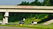 IMAGE: Racist graffiti painted on Moore bridges, signs