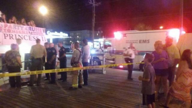 Multiple people were injured when a party boat crashed into a retaining wall at Carolina Beach Friday night, authorities said.
