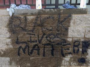 "Raleigh police were investigating at four locations Tuesday morning after the words ""black lives matter"" were written on a Confederate monument, an apartment and two other buildings."