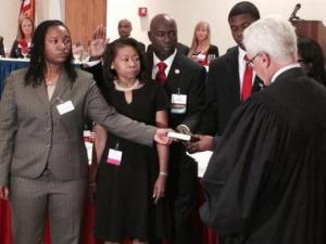 Hoke County Sheriff Hubert Peterkin was sworn in Tuesday night as the president of the North Carolina Sheriffs' Association.