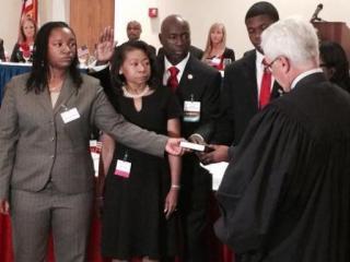 Hoke County Sheriff Hubert Peterkin was sworn in Tuesday night as the president of the North Carolina Sheriffs' Association.