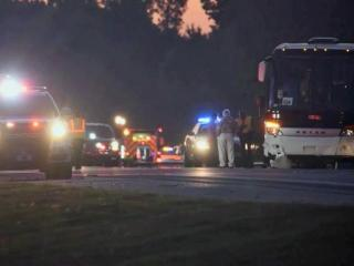 One person was killed and nine were injured when a bus crossed a median and collided with a car early Sunday on Interstate 95 near Benson.