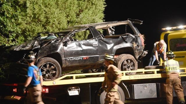 One man died and two others were critically injured Saturday night in Johnston County when their vehicle overturned Photo by: John Payne