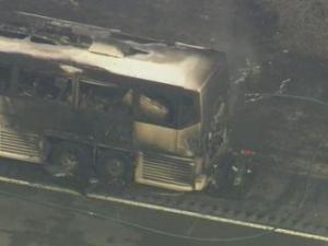 A bus caught fire Wednesday afternoon on I-95 in Harnett County.