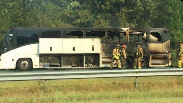 The North Carolina State Highway Patrol is investigating a bus fire on Interstate 95 in Cumberland County.
