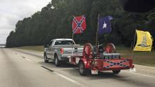 Confederate flags flapped in the wind as the Official Southern Heritage Ride made its way from Burlington to Hillsborough Saturday. (Submitted by: Robert Owen)