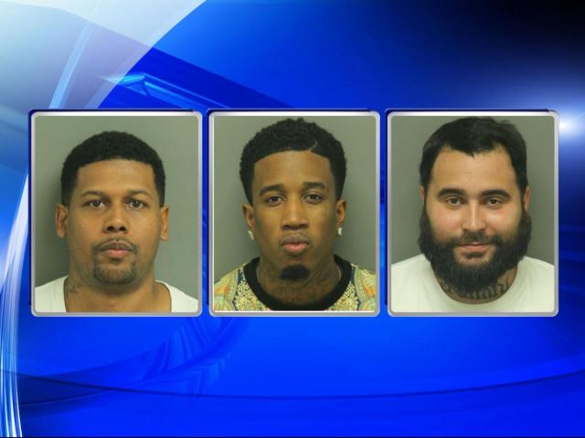 Charged in a Knightdale drug distribution case are, from left: Stephen Blackwell, Pierre Peterson and Jameson Rosado.