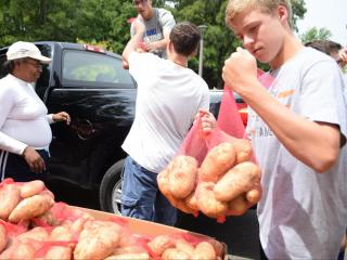 Forty thousand pounds of potatoes are bagged and ready to feed those who could use some help.