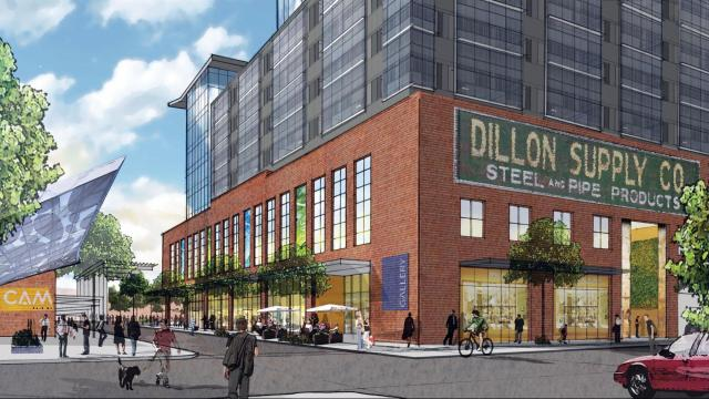 An artist's rendering depicts Kane Realty's proposed mixed-use project for Raleigh's warehouse district. The Dillon will include 260 apartments, 210,000 square feet of office space, and ground-floor shops and restaurants.