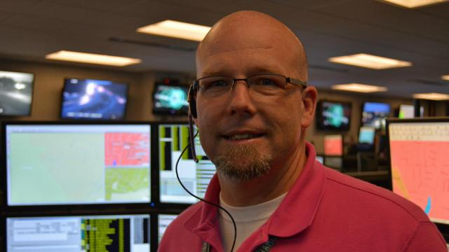 Jeff Mitchell is a call taker at the Raleigh-Wake 911 center.