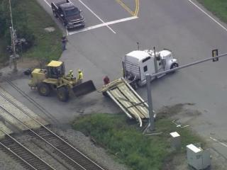 An Amtrak passenger train hit a flatbed truck at the North Carolina-Virginia line on Sept. 10, 2015. No injuries were reported.