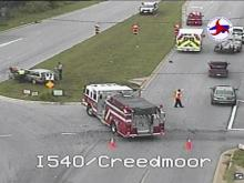 At least two vehicles were involved in a wreck Saturday morning on Creedmoor Road in north Raleigh.