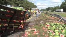IMAGES: Truck carrying watermelons to Florida crashes on I-95
