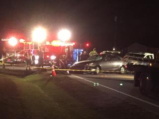Authorities said a motorcyclist was killed in a four vehicle crash Thursday night in Wake County at the intersection of U.S. Highway 42 and Johnny Baker Road.